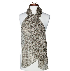 100% Silk, Women&#8217;s Leopard Animal Print Scarf Shawl